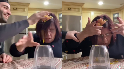 'Son Cracks Egg on Mom's Head (Hilarious Reaction)'