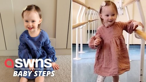 Heartwarming video shows little girl takes her first steps on her new prosthetic leg for the first time (RAW)