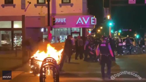 Fires Lit as Protesters Gather in Minneapolis in Wake of Police Shooting