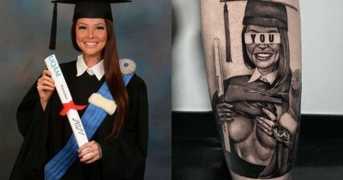 Hélène Boudreau Got Her Famous Graduation Photo Tattooed On Herself