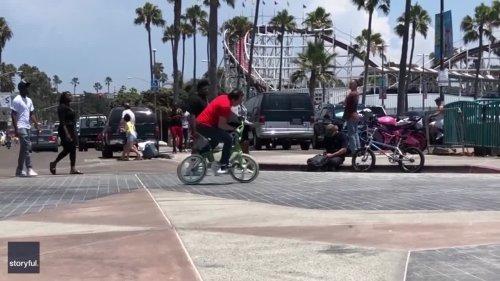 57-Year-Old BMX Rider Showcases Skills in San Diego