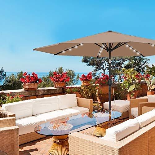 Solar LED lighted patio umbrella