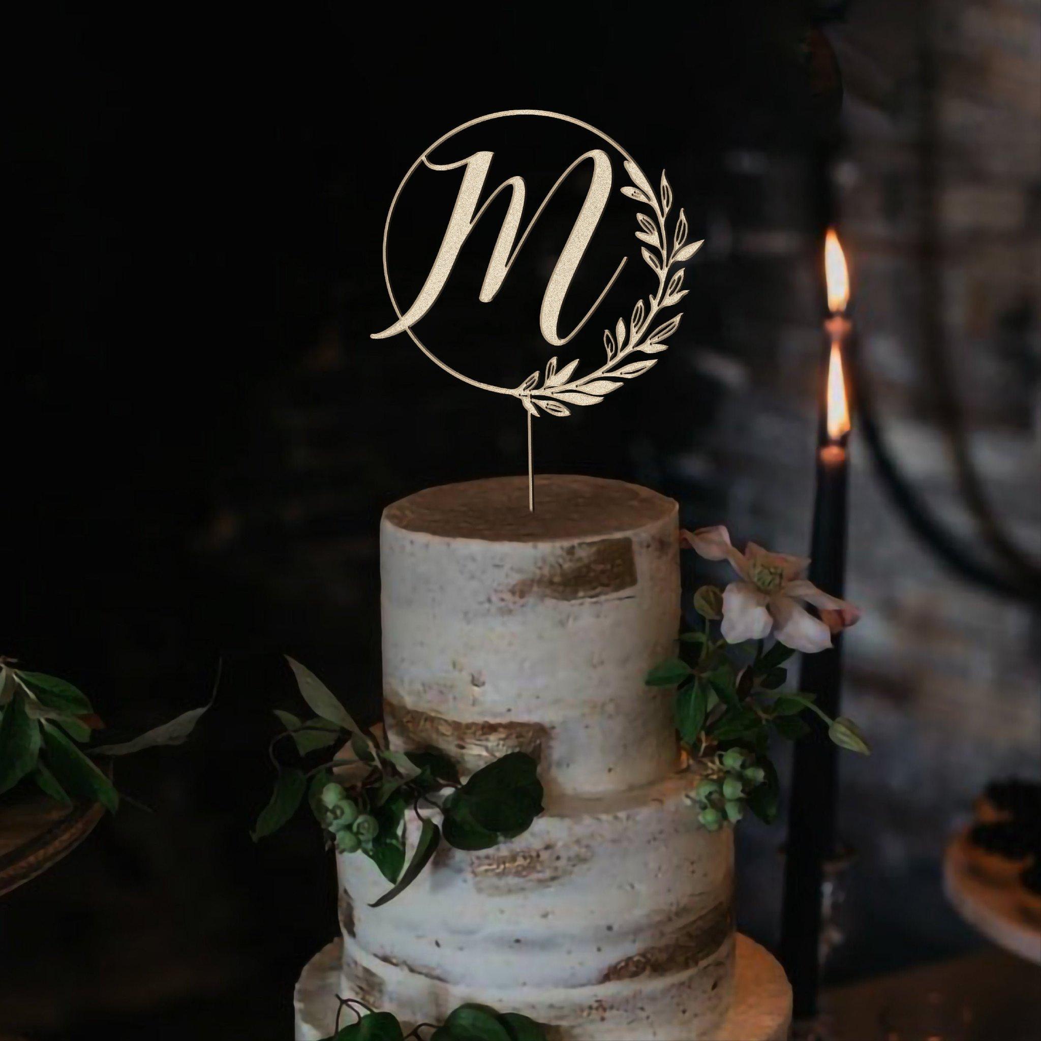 Hand-painted monogram cake topper