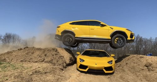 YouTuber Pulls Risky Stunt Jumping A Lamborghini Urus Over His Fiance's Aventado