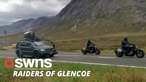Indiana Jones movie crew spotted filming a high speed motorbike chase through the Scottish Highlands (RAW)