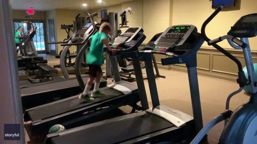Atlanta Boy Showcases Basketball Dribbling Skills on Moving Treadmills