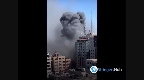 Israeli air forces target Al-jalaa press building in Gaza Strip