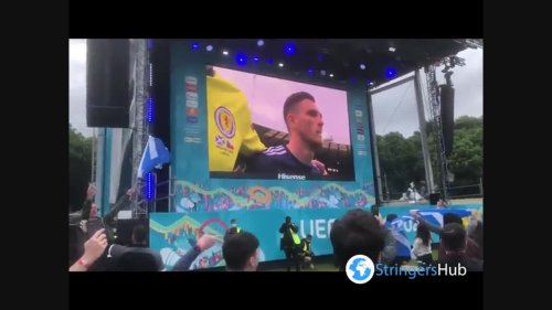 UK: Scottish Football Fans Gather In Glasgow Green To Watch Euro 2020 Game