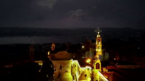 Drone view of Bethlehem on Christmas Eve