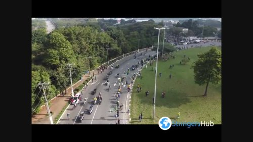 Jair Bolsonaro participates in an act with motorcyclists on the streets of São Paulo
