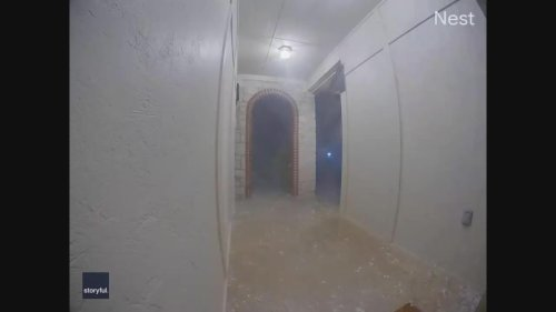 Hailstone Rockets Through Doorway in Norman, Oklahoma
