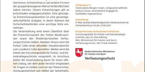 Polizeiinspektion Celle: POL-CE: Celle - Aktionswochen Vielfalt +++ Polizei im Dialog mit dem Verfassungsschutz