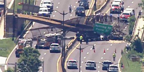 Sechs Menschen verletzt: LKW war wohl zu hoch: Fußgängerbrücke in Washington D.C. eingestürzt