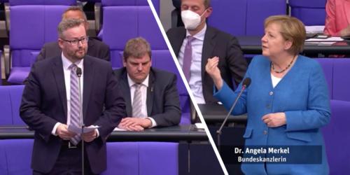 Als AfD-Mann Merkel nach Sinnhaftigkeit von PCR-Tests fragt, hält die ihm Vortrag - Video
