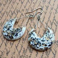 Black and gold foil speckled earrings