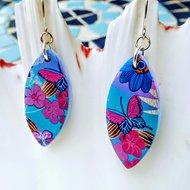 Purple Tropical Flower Earrings