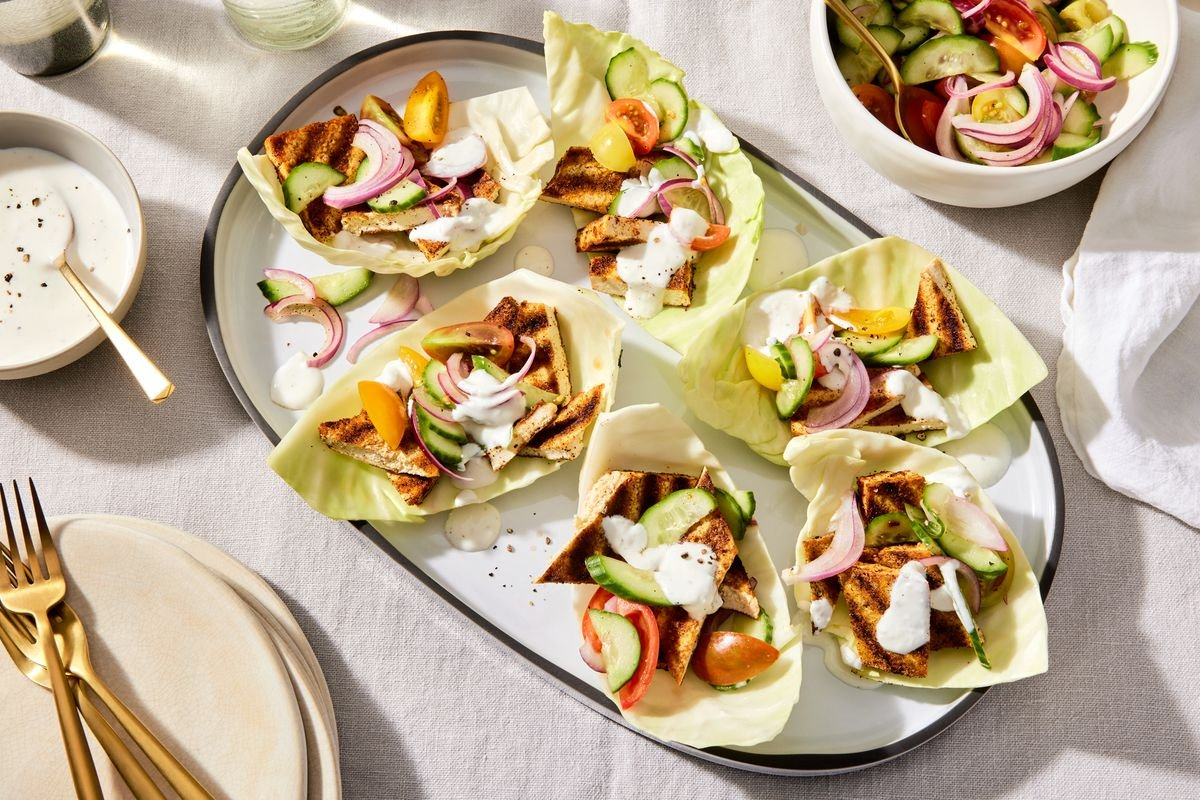 Grilled Tofu Cabbage Cups With Garlicky Yogurt