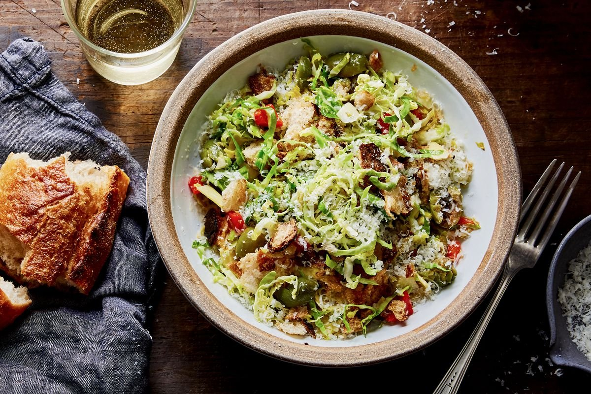 Warm, Cheesy Brussels Sprouts Salad