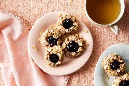 Blueberry Pecan Oat Thumbprint Cookies
