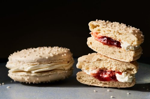 Bakery-Style Vanilla Macarons With Strawberry Cheesecake Filling