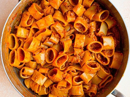 Smoky Red Pepper Pasta With Vegetarian Sausage