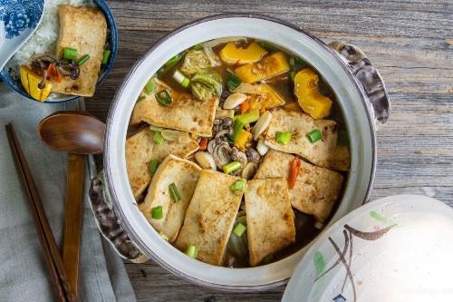 Tofu, Napa Cabbage & Delicata Squash Stew
