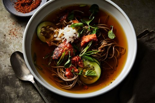 Hot Soba Noodle Soup with Salmon, Cucumber, and Togarashi