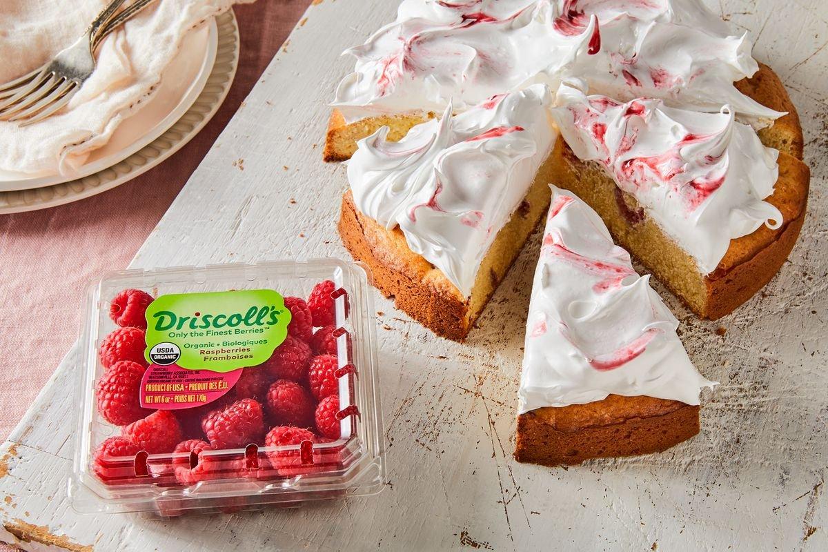 Raspberry Cake With Swirled Meringue