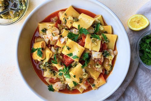 Brothy Tomato Pasta With White Fish, Shallots & Capers