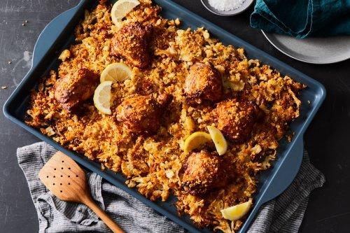 Sheet-Pan Chicken & Cheesy Cauliflower Gratin