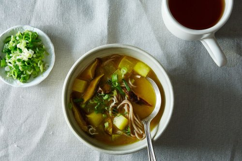 Turmeric-Miso Soup with Shiitakes, Turnips, and Soba Noodles Recipe on Food52