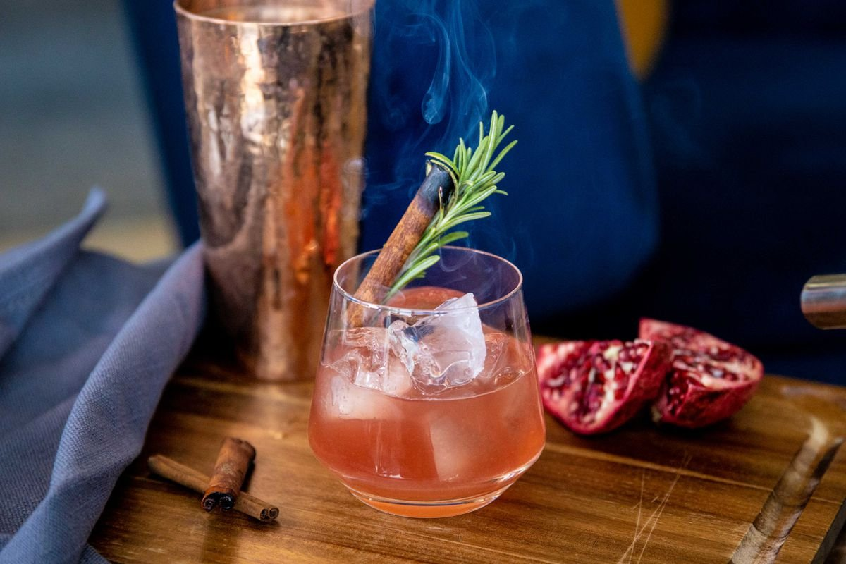 Spiced Bourbon Cocktail With Pomegranate Syrup