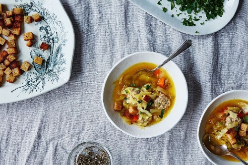 Cabbage and Meatball Soup