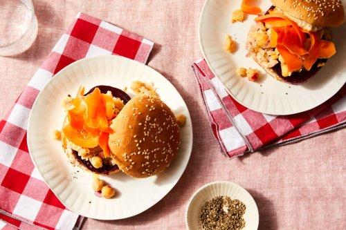 Garlicky Beet & Chickpea Sandwiches