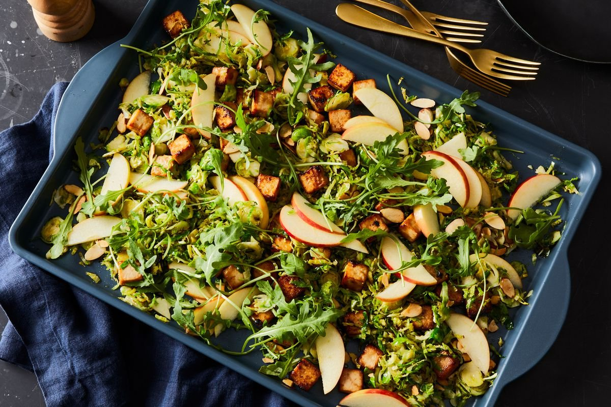 Sheet-Pan Miso Tofu With Brussels Sprouts, Apple & Arugula