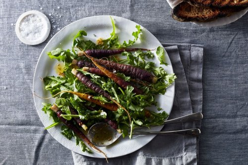 Grilled Young Carrots with Pickled Mustard Seed Dressing and Arugula