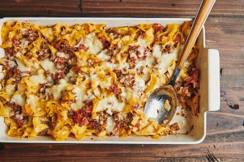 Make-Ahead Beef & Three-Cheese Noodle Casserole