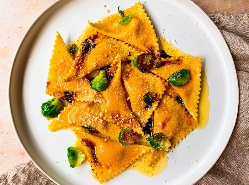 Squash & Brown Butter Tortelli With Brussels Sprouts & Balsamic