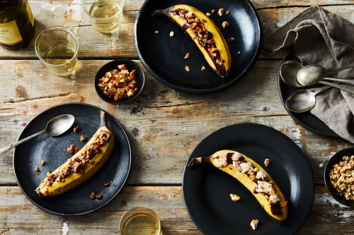 Grilled Banana with Chocolate & Crushed Peanut Brittle