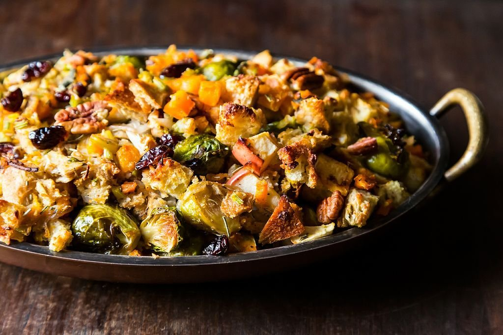Butternut Squash, Brussels Sprout & Bread Stuffing With Apples