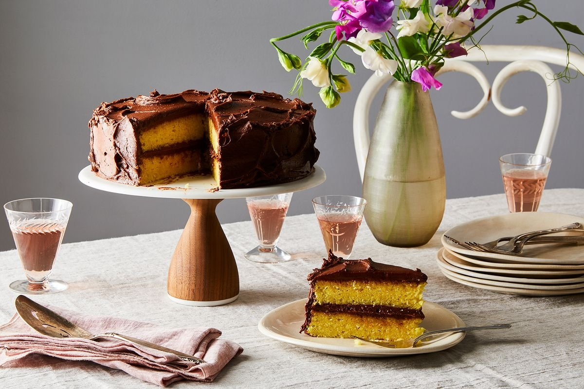 Yellowest Yellow Cake With Fudgy Chocolate Frosting