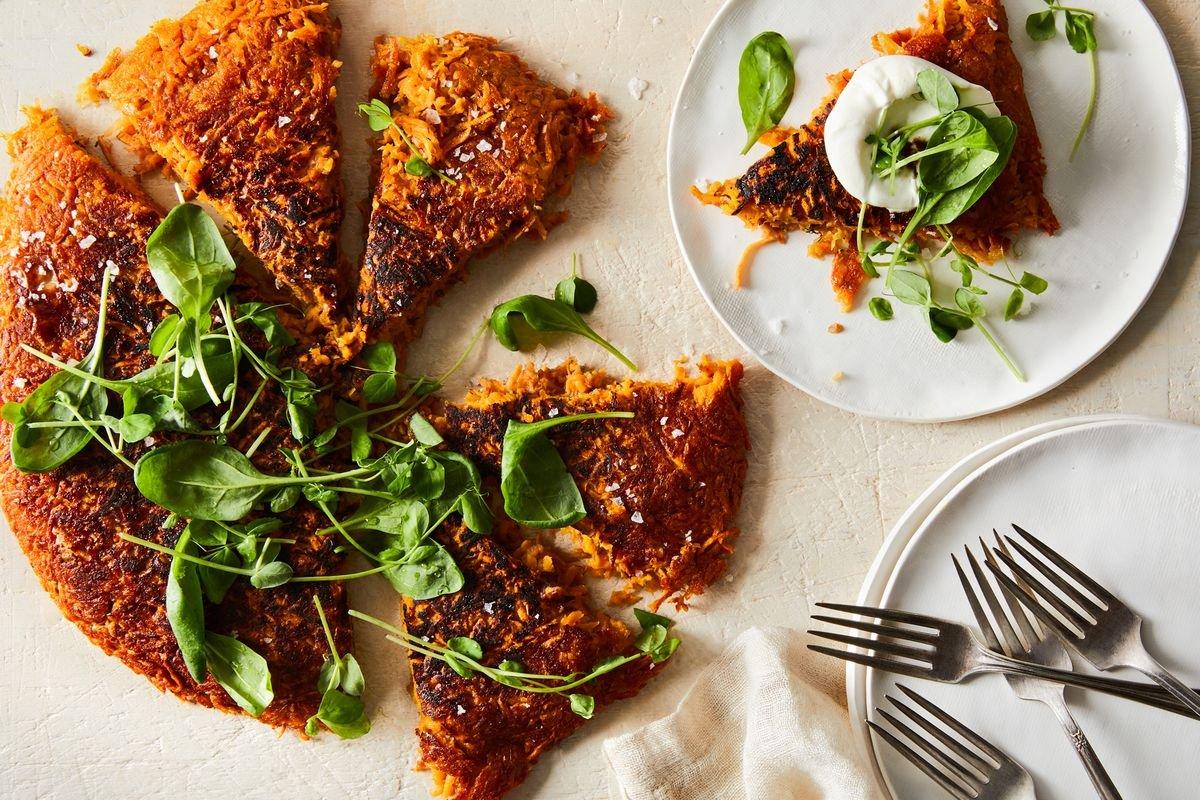 Sweet Potato–Apple Rosti With Leafy Greens & Sour Cream