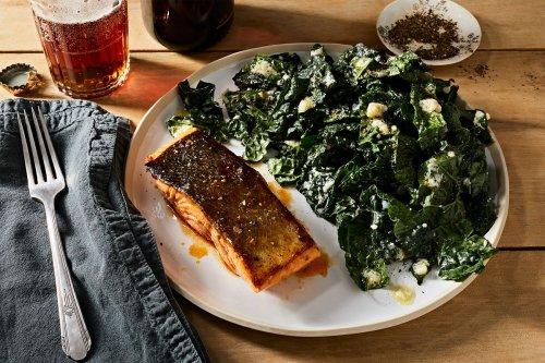 Buffalo-Glazed Salmon With Blue Cheese Kale Salad Recipe on Food52