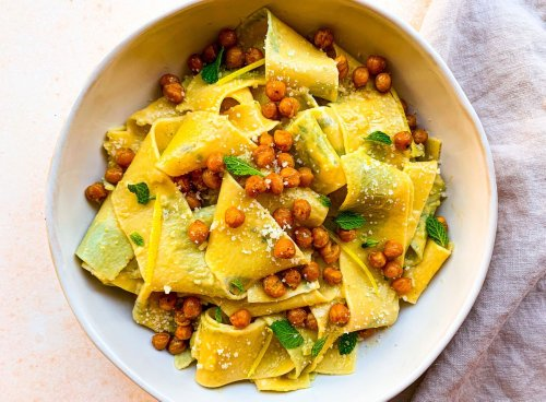 Herb-Laminated Pappardelle With Shallots, Crème Fraîche & Crispy Chickpeas