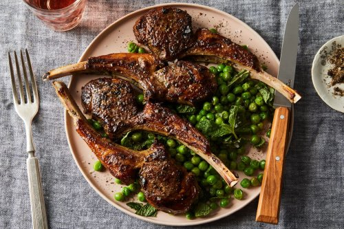 Pan-Fried Lamb Chops With Minted Pea Salad