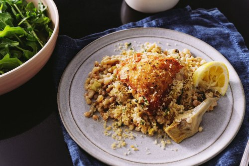 Roasted Chicken Thighs With Artichokes & Pearl Couscous