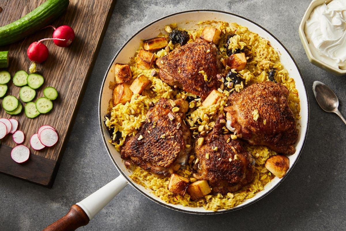 One-Skillet Garam Masala Chicken Thighs & Saffron Rice