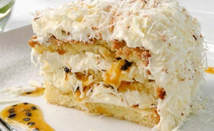 White Chocolate Coconut and Passionfruit Sponge Cake Recipe