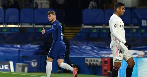 Timo Werner double checks he is onside before celebrating Chelsea goal vs Madrid