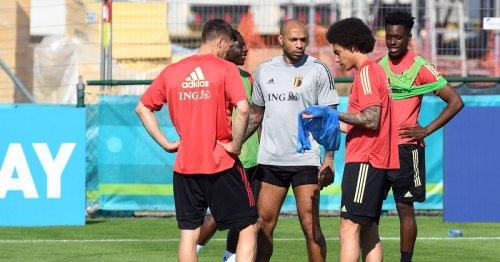 Albert Sambi Lokonga among the Belgium players to celebrate Thierry Henry return